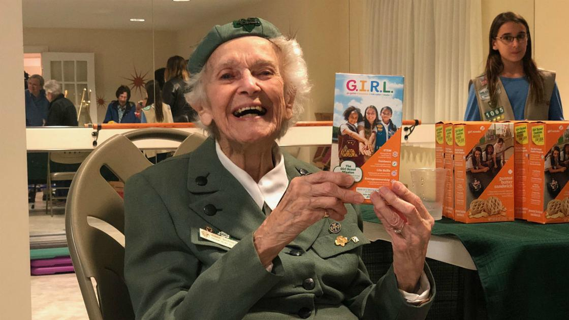 Ronnie Backenstoe selling Girl Scout cookies