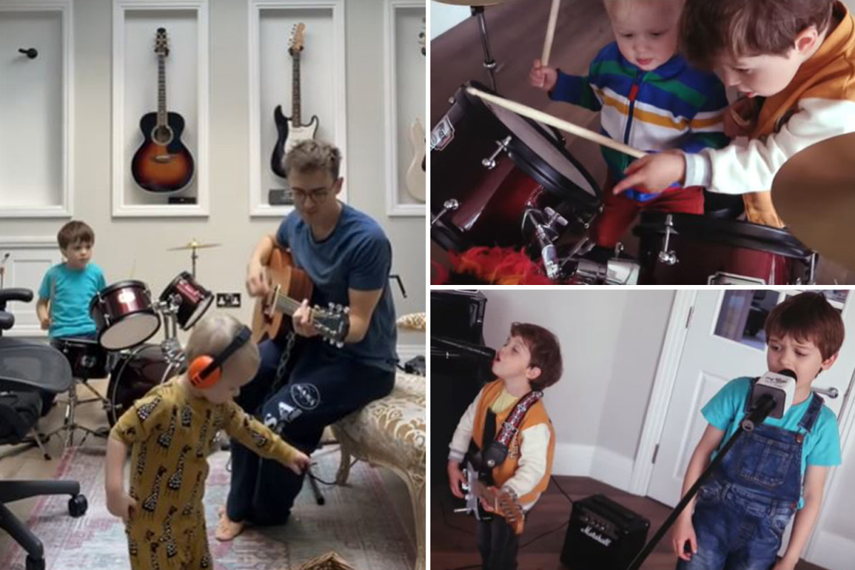 McFly's Tom Fletcher creates a rock band with his sons Buzz, 6, and Buddy, 4, during coronavirus lockdown – The Sun