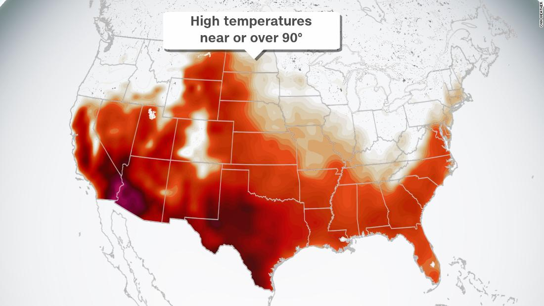 Record heat possible from California to Texas Sunday