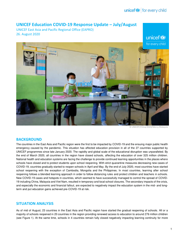 UNICEF EAPRO Education COVID-19 Response Update – July/August - World