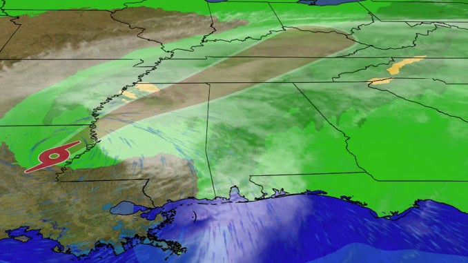 Tropical Storm Delta to Bring Heavy Rainfall, Gusty Winds and Isolated Tornadoes to the South on Saturday