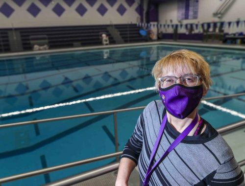 Erin Bates of Cloquet is the new director for Cloquet's Community Education program. Bates is pictured near the pool at Cloquet Middle School, one of the areas used by the program. (Clint Austin / caustin@duluthnews.com)