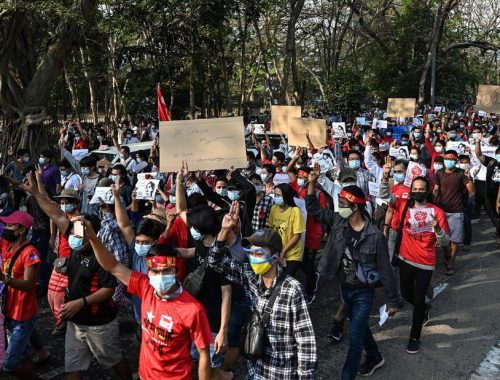 Myanmar protesters call for military to release Aung San Suu Kyi